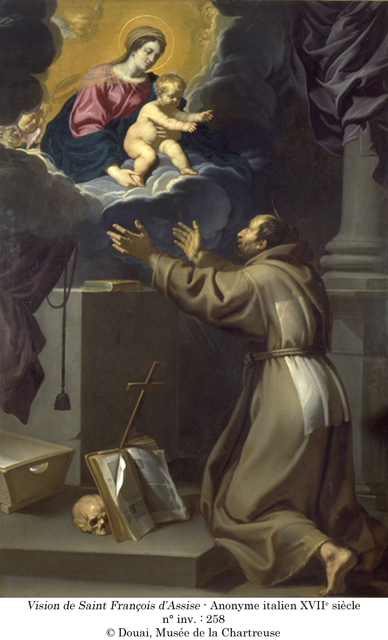 Anonyme italien XVIIème siècle, Vision de Saint-François d'Assise, n°inv 258 @ Douai, Musée de la Chartreuse
