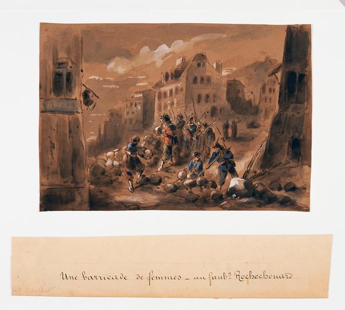 Alexandre Dupendant, Une barricade de femmes au faubourg Rochechouard © I. Andréani
