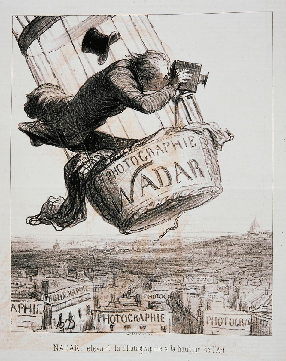 Honoré Daumier, Nadar élevant la photographie à la hauteur de l'Art (Le Boulevard, 1862) © I. Andréani