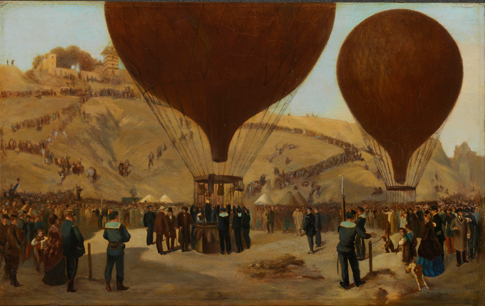 Tableau par Jules Didier et Jacques Guiaud représentant le départ en montgolfière de Léon Gambetta pendant le Siège de Paris en 1870