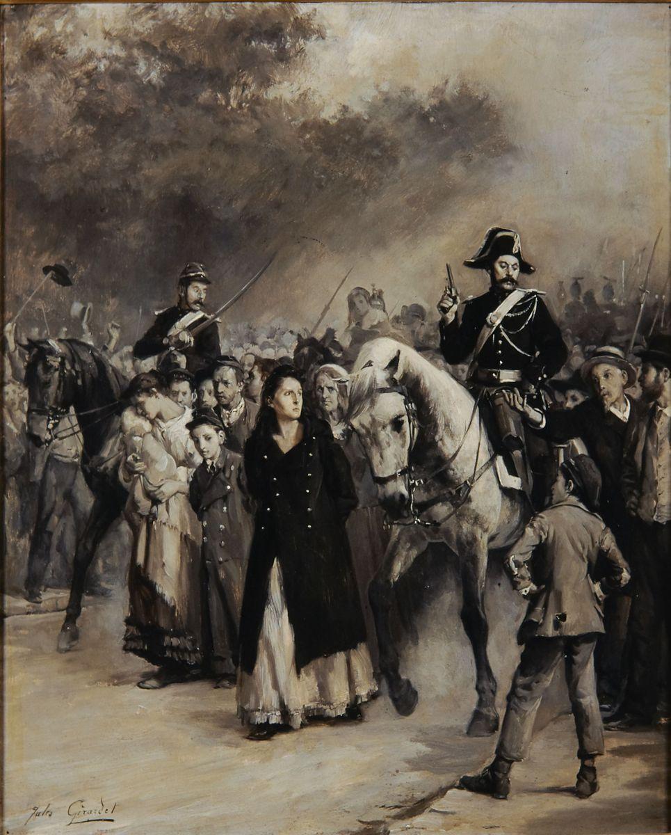 Peinture à l'huile sur panneau par Jules Girardet représentant l'arrestation de Louise Michel après la Commune de Paris