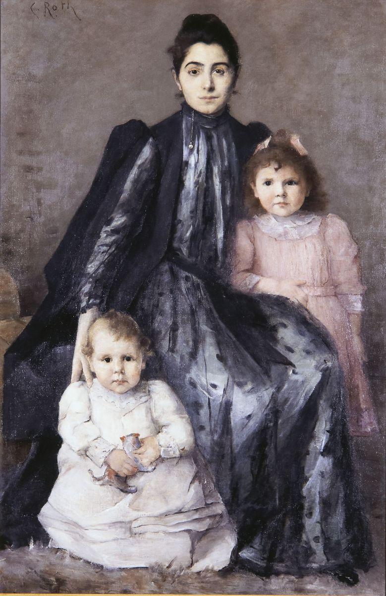 Clémence Roth, Portrait d'une femme avec deux enfants © I. Andréani