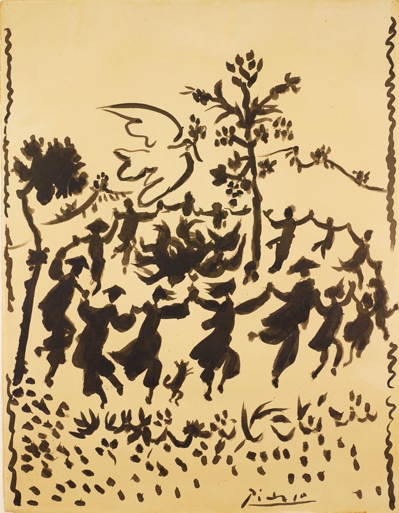 Pablo Picasso, Vive la Paix ! (encre de Chine sur papier, 1954) © Succession Picasso 2020