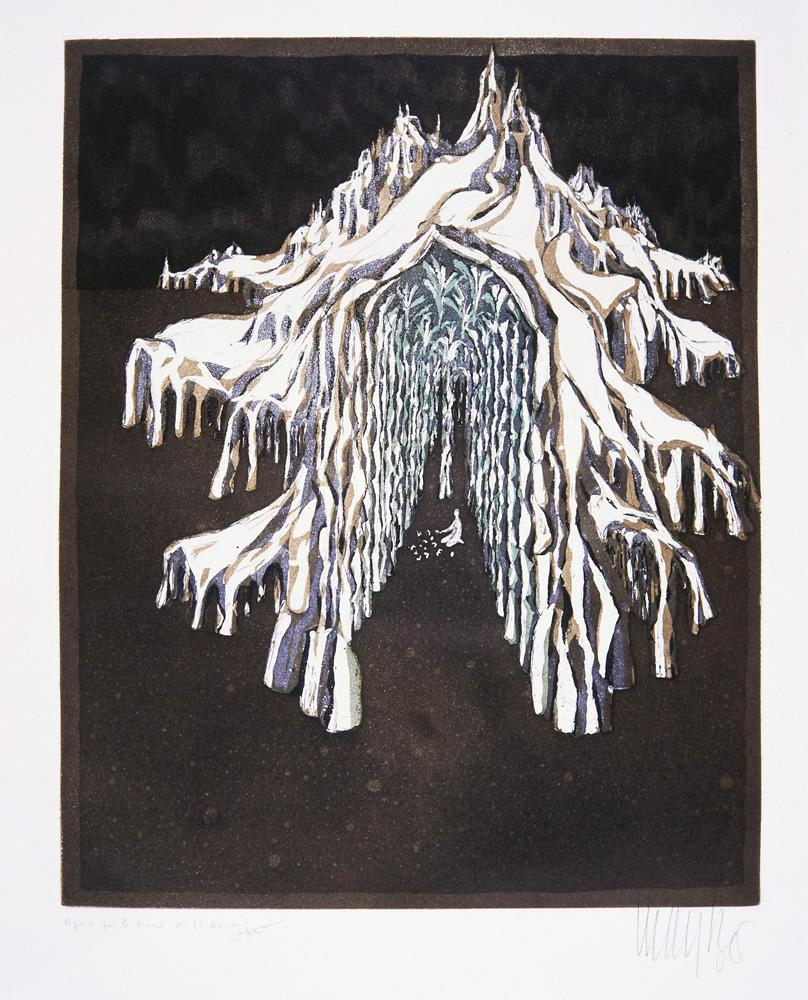 Lars Bo, Le palais de la Reine des Neiges (eau-forte et aquatinte sur papier, 1967) © Lars Bo - tous droits réservés