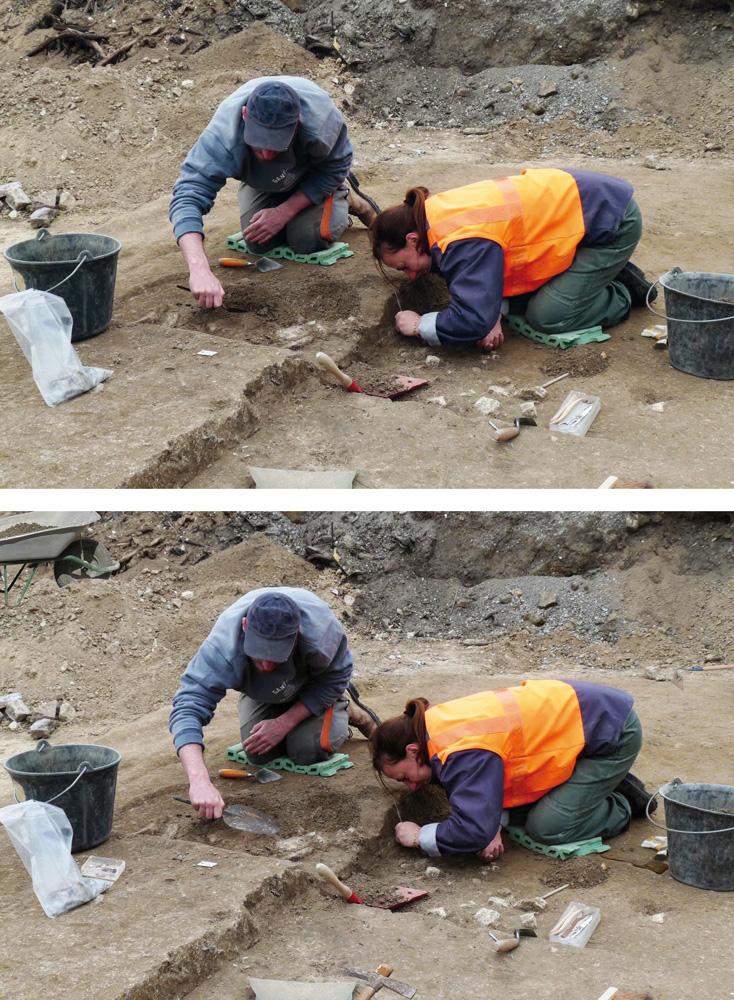 Document Unité d'archéologie de la ville de Saint-Denis, photo S. Louit, infographie J.-P.Marie – Fouille de la rue Charles Michels
