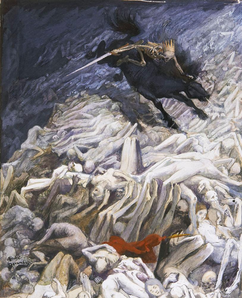 Allégorie de la Commune par André Devambez, gouache sur papier représentant un squelette armé et couronné chevauchant un cheval noir galopant sur des cadavres et un drapeau rouge