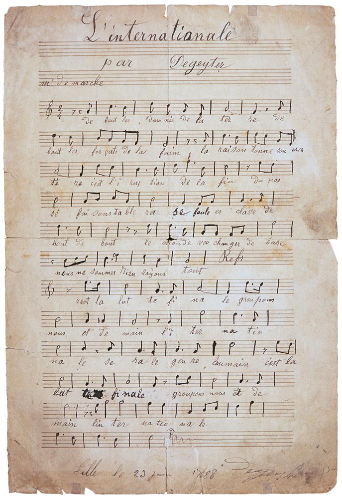 Partition et paroles manuscrite du chant révolutionnaire de l'Internationale, composé par Pierre De Geyter