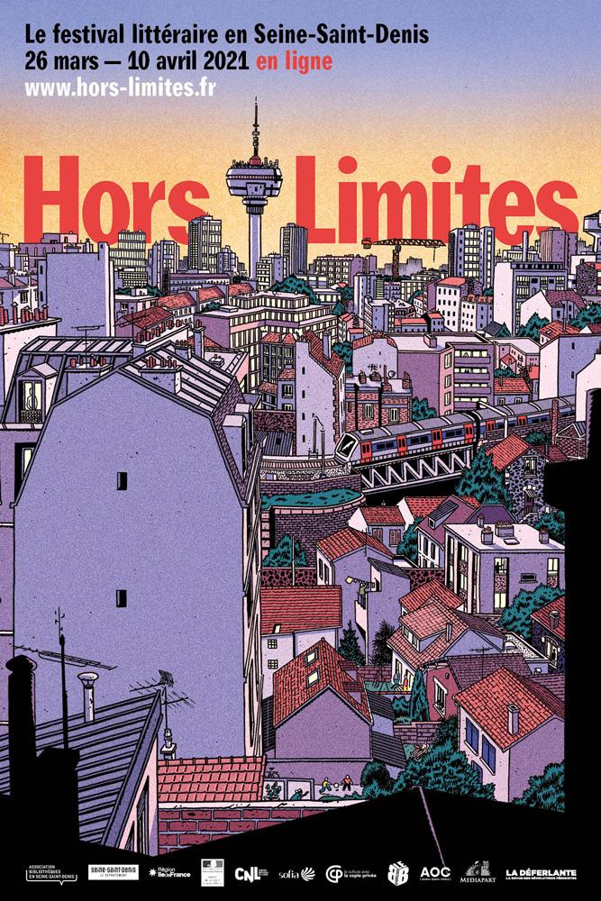 Affiche du festival littéraire Hors limite, dessin d'un paysage urbain avec un métro aérien