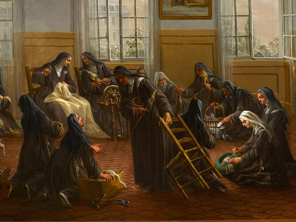 Laurent Guillot, les carmélites assemblées au chauffoir (huile sur toile, XVIIIème siècle). Cliché : I. Andréani